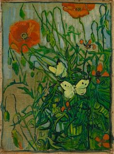 Poppies and Butterflies 1890. Indicating his desire to make the painting, in 1888 Van Gogh mentions hoping to make a better version of butterflies or the field of poppies while in Arles. Vivid red poppies and pale yellow butterflies float on the surface of twisting dark stems, nodding buds against a yellow-gold background. Van Gogh's layering of pattern in Butterflies and Poppies suggests a decorative quality like that of a textile or a screen, influenced by the Japanese prints he admired.