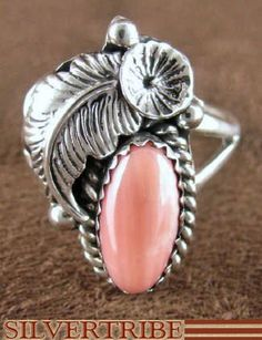 Navajo coral and sterling ring.  I love Native American jewelry. heidiaphrodite