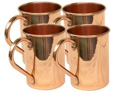 Set of 4 Classic Moscow Mule Copper Mugs, 16 Ounce Straight Solid Copper Moscow. #VisvabhavanahMart