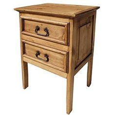 Made of solid pine in Mexico by skilled craftsmen, this rustic nightstand is very affordable and versatile.  Use it next to your bed or sofa with a lamp on top.  Place items in the drawers that you want to keep handy and organized.  There's empty space under the drawers where you can tuck a basket or bed for your favorite feline.