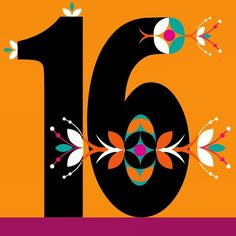 Happy 16th february #flower #font #number #sixteen #graphic #vector @illustrator_eye