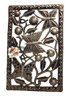 Garden Butterfly Recycled Haitian Metal Folk Art Wall Hanging 17H