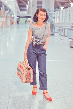 At the airport. Vintage style for travelling with a beautiful Leica M3
