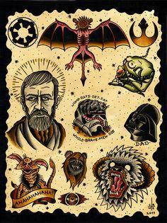 star wars tattoo flash more tattoos art ink starwars star wars tattoos . War Tattoo, Star Wars Tattoo, Tattoo You, Sweet Tattoos, Tattoos For Guys, Desenhos Old School, Dibujos Tattoo, Star Wars Personajes, Star Tattoo Designs