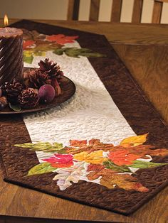 A Beautiful Runner for Your Autumn Table - Quilting Digest Shades of Autumn Table Runner Pattern Thanksgiving Table Runner, Table Runner And Placemats, Table Runner Pattern, Quilted Table Runners, Thanksgiving Decorations, Fall Table Runner, Christmas Table Runners, Table Decorations, Table Topper Patterns