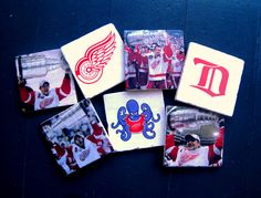 For a Redwings fan! Detroit Red Wings, Coasters, Creations, Fan, Handmade, Hand Made, Craft, Fans, Coaster Set