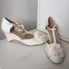 NEW Spitfire Poetic Licence Pump, Sz 8.5 These beautiful cream and gold T-strap pumps are the perfect whimsical wedding shoe, whether for the bride or bridesmaid! Very comfortable with wedge heel and ribbon ankle strap. Details are adorable! Poetic Licence Shoes
