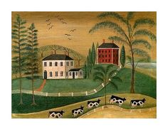 One of my favorite artist from long ago was itinerant artist Rufus Porter . An itinerant painter was one who would go from town to town and . Primitive Painting, Primitive Folk Art, Primitive Decor, Primitive Snowmen, Primitive Christmas, Country Primitive, Country Christmas, Christmas Christmas, Mural Painting
