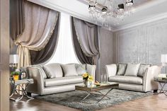 2 pc Alessandra silver fabric sofa and love seat set. Sofa and Love seat features a nail head trims , multi color patterned throw pillows. Sofa measures x x H. Love seat measures x x H. Some assembly may be required. Sofa And Loveseat Set, Luxury Living Room, Living Room Sets, Interior, Silver Sofa, Home Furniture, Silver Living Room, Furniture Of America, Cheap Furniture Online
