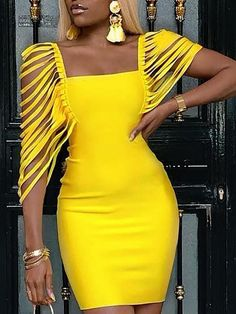 Square Neck Tassel Embellished Bodycon Dress We Miss Moda is a leading Women's Clothing Store. Offering the newest Fashion and Trending Styles. African Attire, African Fashion Dresses, African Dress, African Party Dresses, Trend Fashion, Look Fashion, Fashion Outfits, 50 Fashion, Fashion Styles