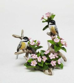 2009 Mary McGrath Sculpture Chickadees Pink Azalea Dollhouse Miniature Mini (L)