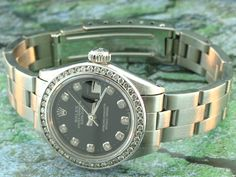 Rolex Ladies Stainless Black Diamond Dial Diamond Bezel Oyster Bracelet