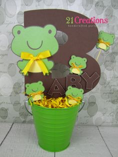 Frog Baby Shower Centerpiece by on Etsy Fiesta Baby Shower, Boy Baby Shower Themes, Baby Shower Games, Baby Shower Parties, Baby Boy Shower, Monkey Centerpiece, Frog Baby Showers, Princesa Tiana, Frog Theme