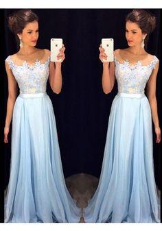 Appliques Blue Illusion Sweep Train Chiffon A Line Prom Dress Cwb0616