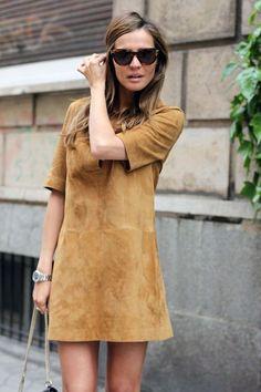 vestido suede camel