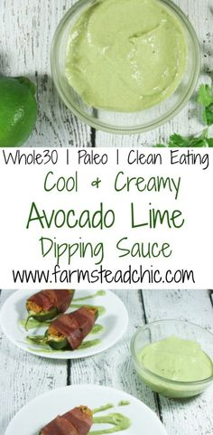 This Paleo & Avocado Lime Sauce is easy cool and creamy requiring only 10 minutes and 5 ingredients (S&P) to make! This Paleo & Avocado Lime Sauce is easy cool and creamy requiring only 10 minutes and 5 ingredients (S&P) to make! Paleo Whole 30, Whole 30 Recipes, Whole Food Recipes, Whole 30 Diet, Dinner Recipes, Low Carb Recipes, Vegan Recipes, Cooking Recipes, Sauce Recipes