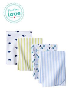 It's a boy! Circo 4-pk. flannel receiving blankets in Whales 'n Waves are the perfect baby shower gift.