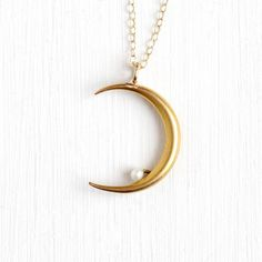 Antique 14k Yellow Gold Crescent Moon Pearl Pendant Necklace - Vintage Early 1900s Art Nouveau Edwardian Fine Conversion White Gem Jewelry