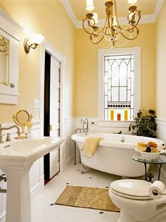 Bathroom Yellow, Warm Bathroom, Bathroom Small, Budget Bathroom, Relaxing  Bathroom,