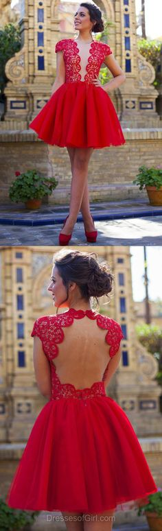 Red Prom Dresses, Short Prom Dress, Lace Homecoming Dress, Backless Homecoming Dresses, Princess Cocktail Dress