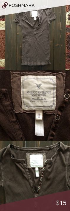 American Eagle ribbed Henley tee American Eagle ribbed Henley top, Brown. Longer in torso.  Buttons in front. American Eagle Outfitters Tops Tees - Short Sleeve