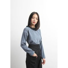 Chiffon Pleat Collar Trim Flannel Top (SPTP03444BLU)