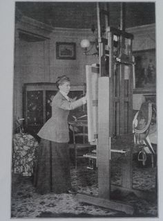 Lady Butler at her easel in her studio at Dover Castle, 1898.
