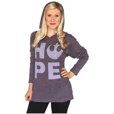 Star Wars Hope Ladies' Hooded Pullover ($26) ❤ liked on Polyvore featuring tops, purple shirt, shirts & tops and purple top