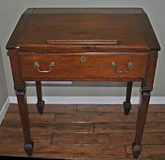 Antique 19th Century Slant Top School Masters Desk With Drawer ...