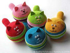 Inspiration.....crochet cat anti-stress balls or ornaments....or....