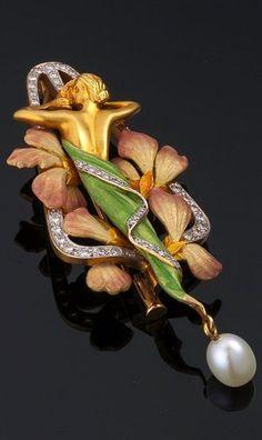 ART NOUVEAU - Louis Masriera - Enamel, Pearl and Diamond Brooch. <3: