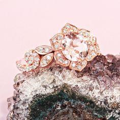 Lily Rose Flower Ring Wave Diamond Ring Morganite Gold Ring