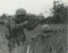 Photo of grunts from Lima 3/5 Marines returning fire during Operation MEADE RIVER, November 1968 ~ Vietnam War