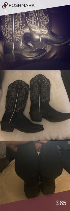 Cowboy Boots Black w/ white & pink embroidery. Ariat Cowboy Boots Size 8B. Worn once. Black boots with white & pink embroidery. Ariat Shoes Heeled Boots