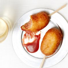 Mini Corn Dogs with Cranberry Mustard | The Chardonnay in a brut blend pairs well with the corn and the mustard, while the Pinot Noir builds bridges to the hot dog and the cranberry in the dip.TIP: Make the Cranberry Mustard before you start the dogs.