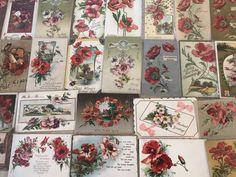 FLORAL LOT of 26~  POPPIES VINTAGE POPPY FLOWERS GREETINGS POSTCARDS-p769 #GreetingsPostcardsLot