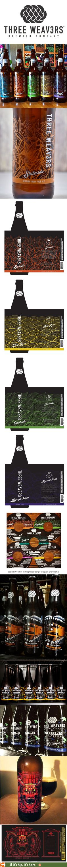 Silkscreened Bottles and labels for the Three Weavers Brewing Company Craft Beer.