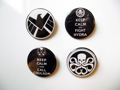 Agents of SHIELD Badges/Fridge Magnets - Keep Calm and Call Coulson - SHIELD logo - Hydra Logo by TheSquarePenguin on Etsy https://www.etsy.com/uk/listing/250146114/agents-of-shield-badgesfridge-magnets