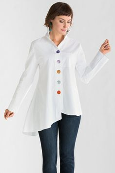 """""""Funky Buttons Shirt"""" created by designer Vitamin. Everything you want in a great white shirt, with the surprise of multicolored buttons adding unique personality. #winter2014"""