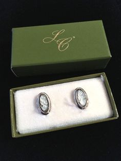 Sarah Coventry Pearl Cameo Screw Back Earrings Sterling Silver Vintage W BOX #SarahCoventry #VintageCameoLadyFigural