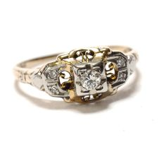 Art  Deco 14K & Diamond Engagement Ring  by RubyInTheDustVintage, $675.00