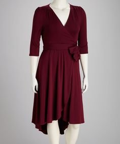 Raspberry Winona Hi-Low Plus-Size Wrap Dress | Daily deals for moms, babies and kids