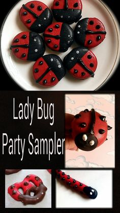 Party Sampler pack chocolate ladybugs cake pops Oreo Cookies Pretzels pink green red black pink green