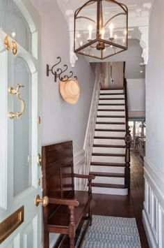 Front hallway, entry stairs, hallway ideas, house of turquoise, narrow room Narrow Entryway, Narrow Rooms, Entry Foyer, Entry Stairs, Entrance Table Decor, Stair Decor, Entryway Decor, Entrance Halls, Wall Decor