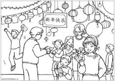Chinese New Year gifts colouring page, family giving Chinese New Year gifts and money packets
