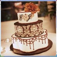 Wedding Cake with Vows Written on it! Great Idea!