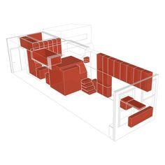 Red volumes define the integrated storage throughout the apartment