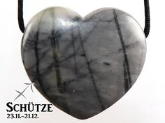 SAGITTARIUS: Picasso marble (heart) on leather strap / cotton cord (necklace) Picasso, Stone, Etsy, Sagittarius Star Sign, Stone Necklace, Leather Cord, Gemstones, Black Leather, Heart