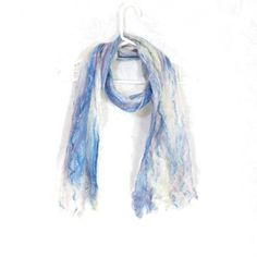 Cobweb Felted Blue Scarf, Handmade Wool Winter Scarf, Blue White, Long... ($49) ❤ liked on Polyvore featuring accessories, scarves, blue scarves, lightweight scarves, wool shawl, long shawl and oblong scarves