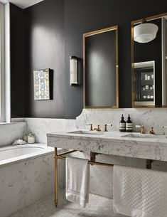 Black bathroom - masculine bathroom, marble brass and off-black, schoolhouse fixture, bathroom design